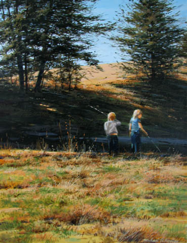 Two Sisters Fishing by  Michael Wheeler - Masterpiece Online