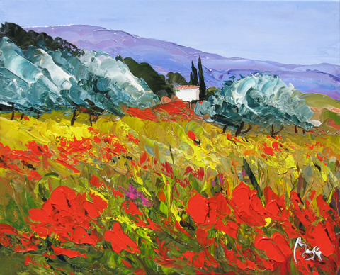 Poppies & Trees by  Louis  Magre - Masterpiece Online