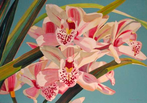 Pink Orchids, Pale Bl... by  Fabienne Blanc - Masterpiece Online