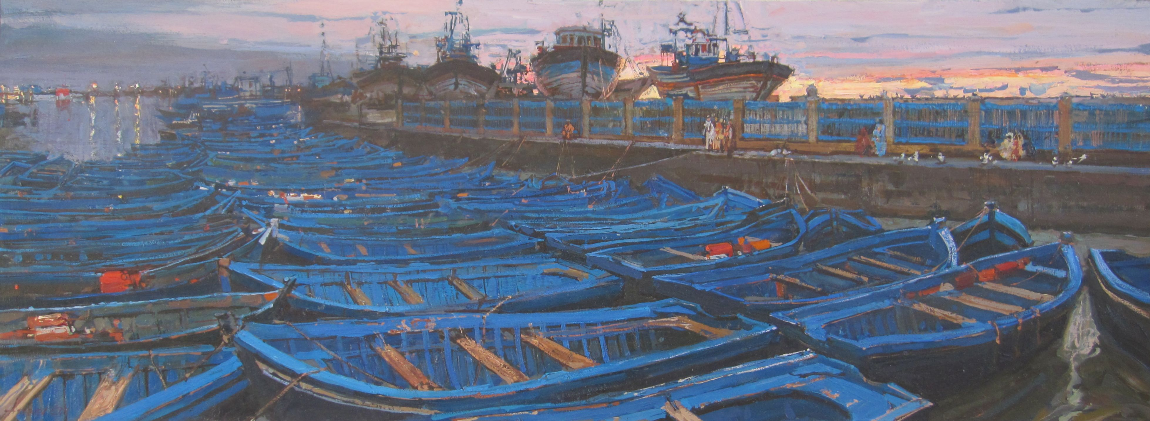 Dusk in the Harbor by  Daud Akhriev - Masterpiece Online