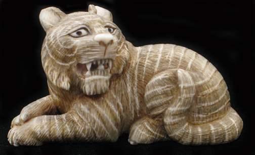 Snarling Tiger by   Netsuke - Masterpiece Online