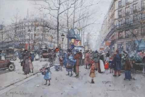 Les Grands Boulevards... by  E. Galien Laloue  - Masterpiece Online