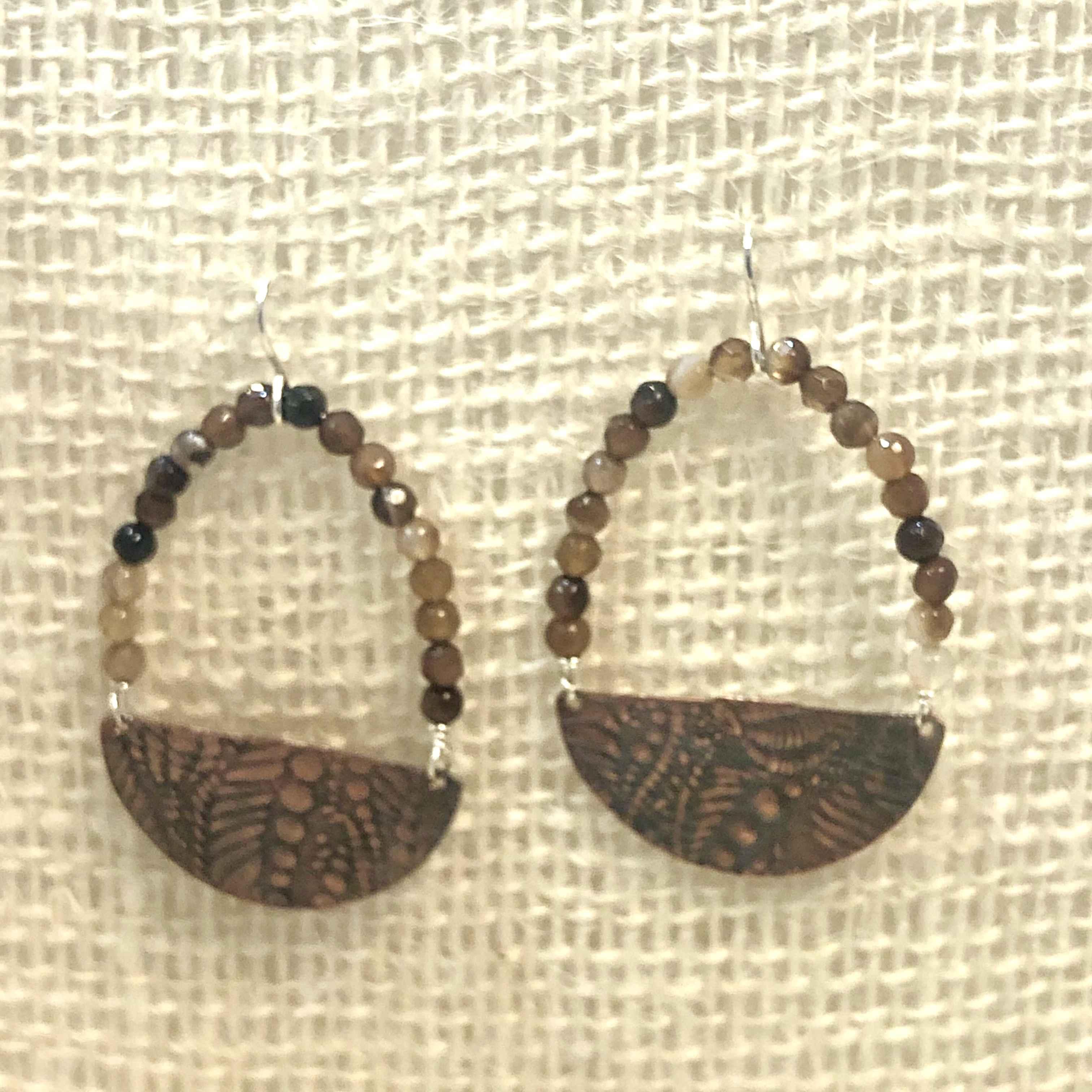 Half Circle Disc with Agate Rondelles Beaded Hoop Earring