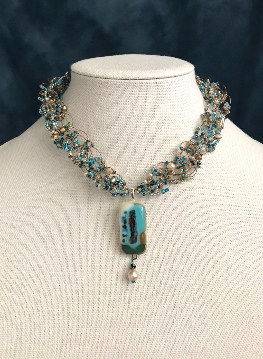 Fused Glass Aqua, Gold & White with Pearl 17