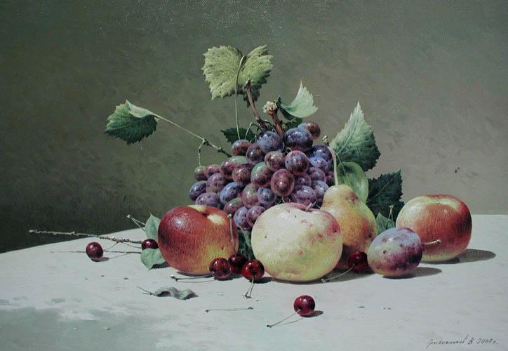 Still life Grapes & A... by  Vasily Gribennikov - Masterpiece Online
