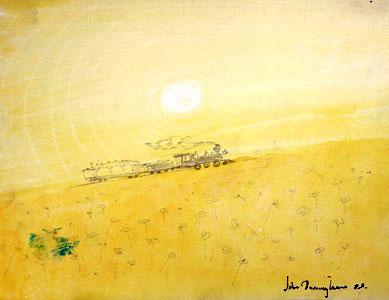 Yellow Train With Sun