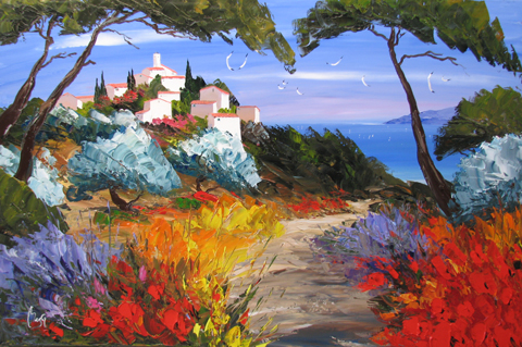 Village Above the Bay by  Louis  Magre - Masterpiece Online