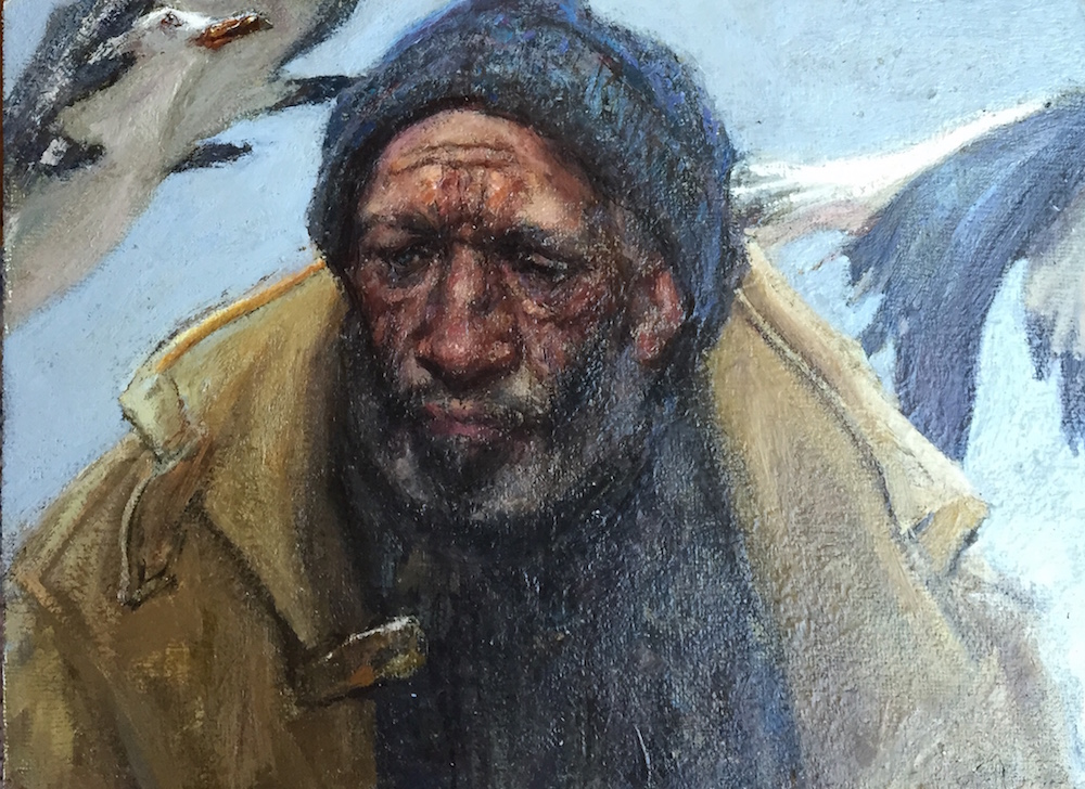 Fisherman with Gulls by  Daud Akhriev - Masterpiece Online
