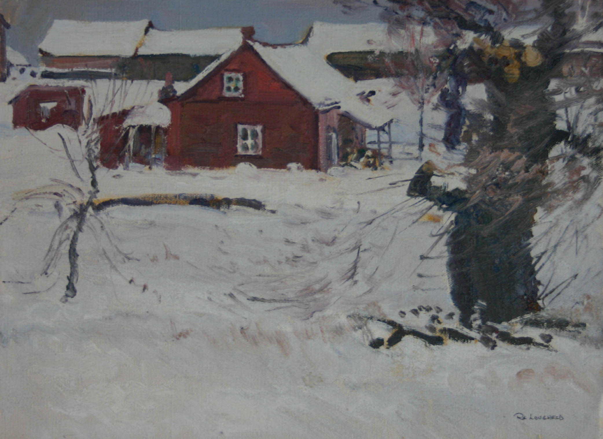 Red House in Snow by  Robert Lougheed - Masterpiece Online
