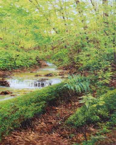 Woodland Waterfall  by  Michael Wheeler
