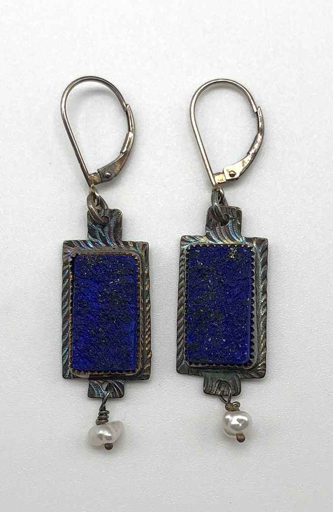 Earring Sterling, Lapis Lazuli and Pearl
