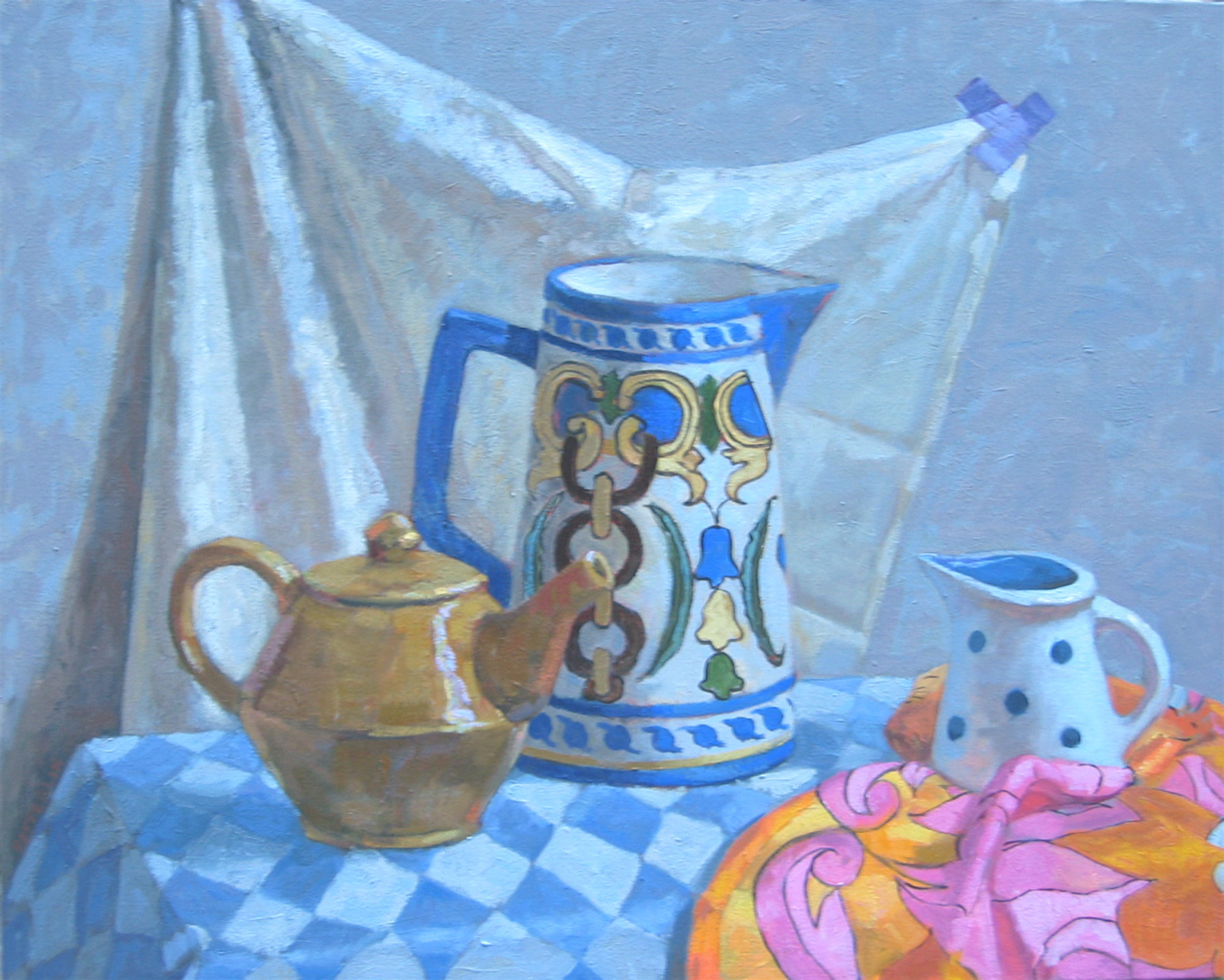 Teapots In Blue and O... by  Melissa Hefferlin - Masterpiece Online