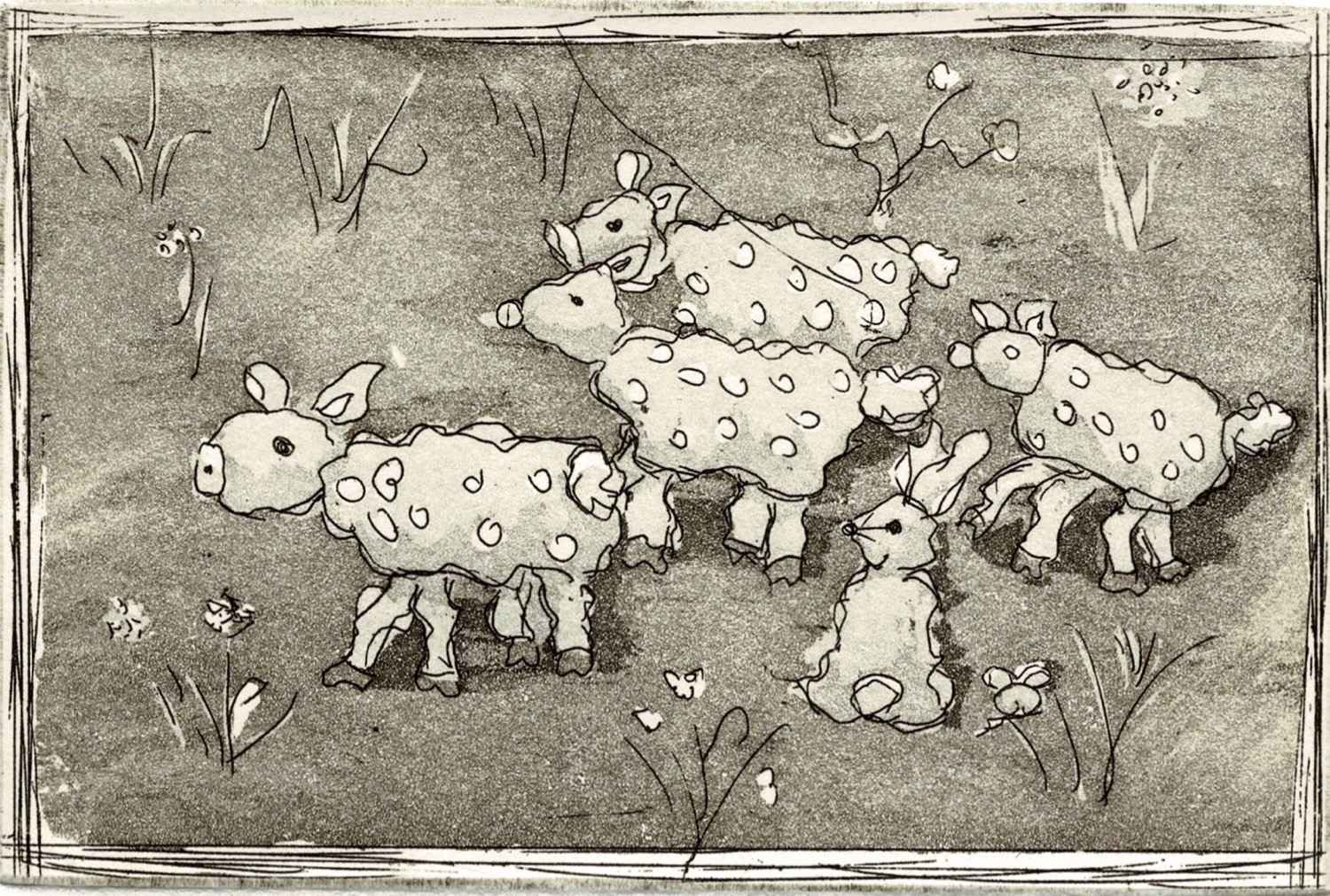 Lapins et moutons by  Béatrice ARCHINARD - Masterpiece Online