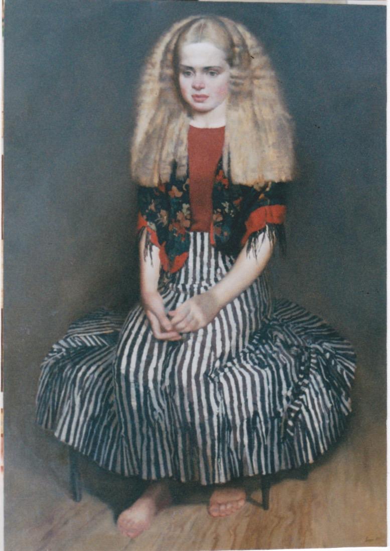 Girl in a Striped Ski... by  Daud Akhriev - Masterpiece Online