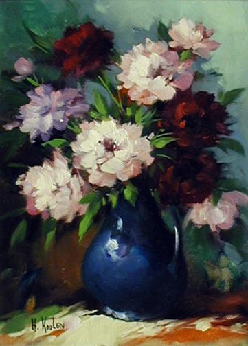 Flowers in a Blue Vase by  Harry  Koolen  - Masterpiece Online