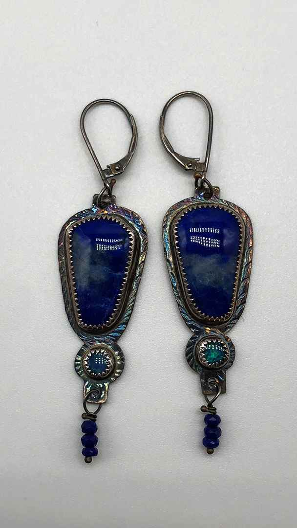 Lapis Lazuli, Opal and Sterling Earrings