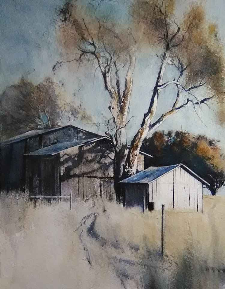 Three Barns at Cliff ... by  Lane Hall - Masterpiece Online