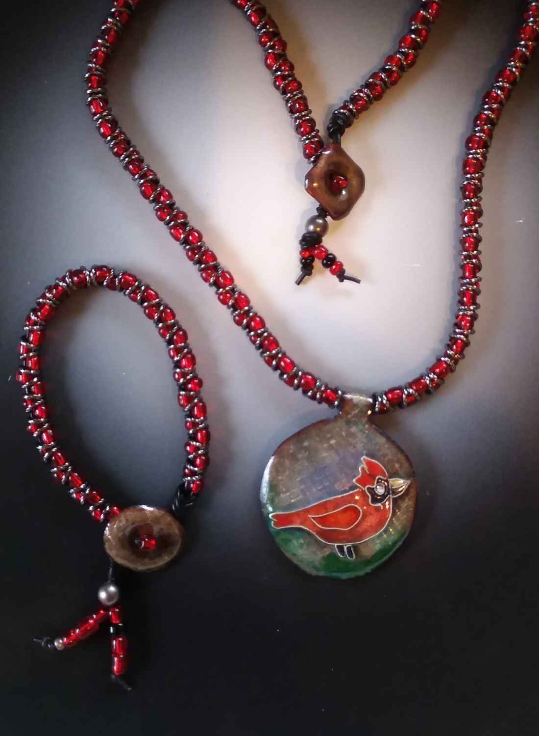 Cardinal Necklace and Bracelet Set