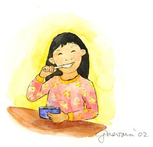 Happy Girl In Soup by  Susan Guevara - Masterpiece Online