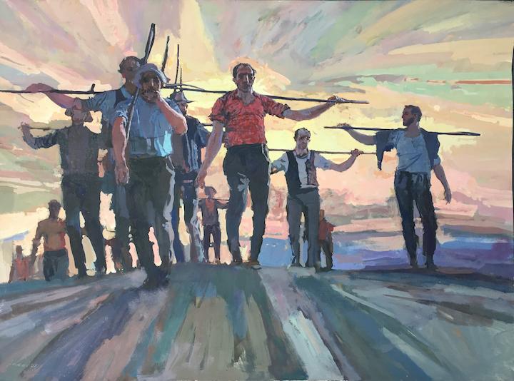 The Workers, Tempera by  Daud Akhriev - Masterpiece Online
