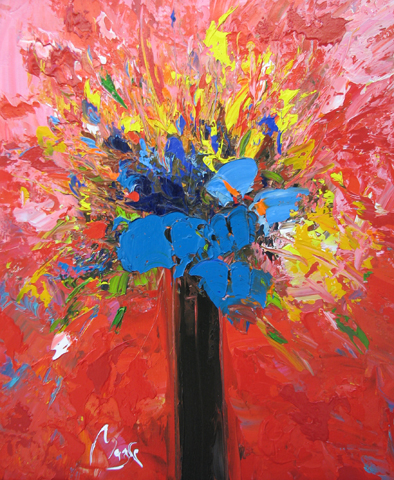 Bouquet with Blue Flo...  by  Louis  Magre