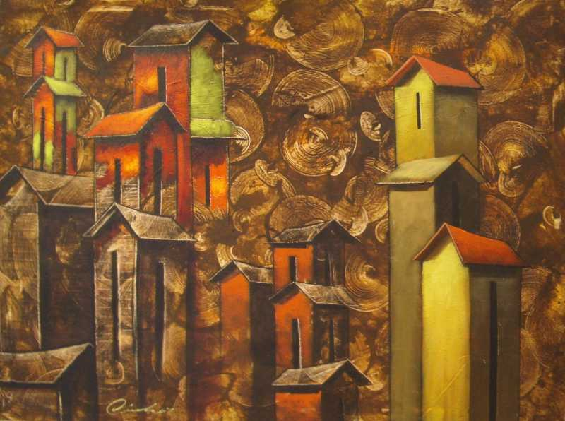 Houses and Circles by   Cherla - Masterpiece Online
