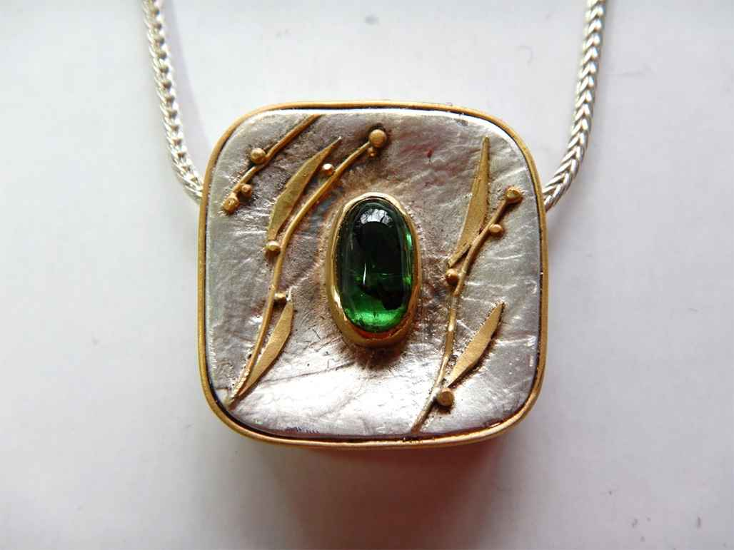 Sterling, 22k Gold and 3 ct Botany Green Tourmaline Necklace
