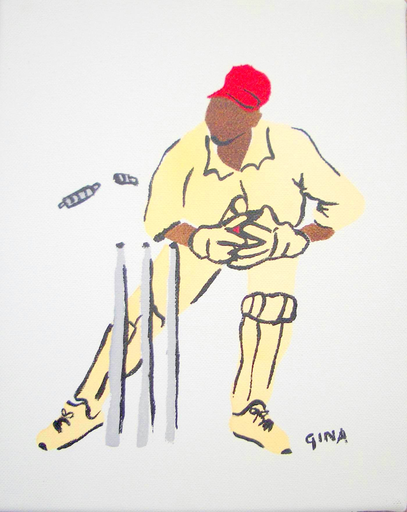 Wicket Keeper 10x8 by Ms Gina Foster - Masterpiece Online
