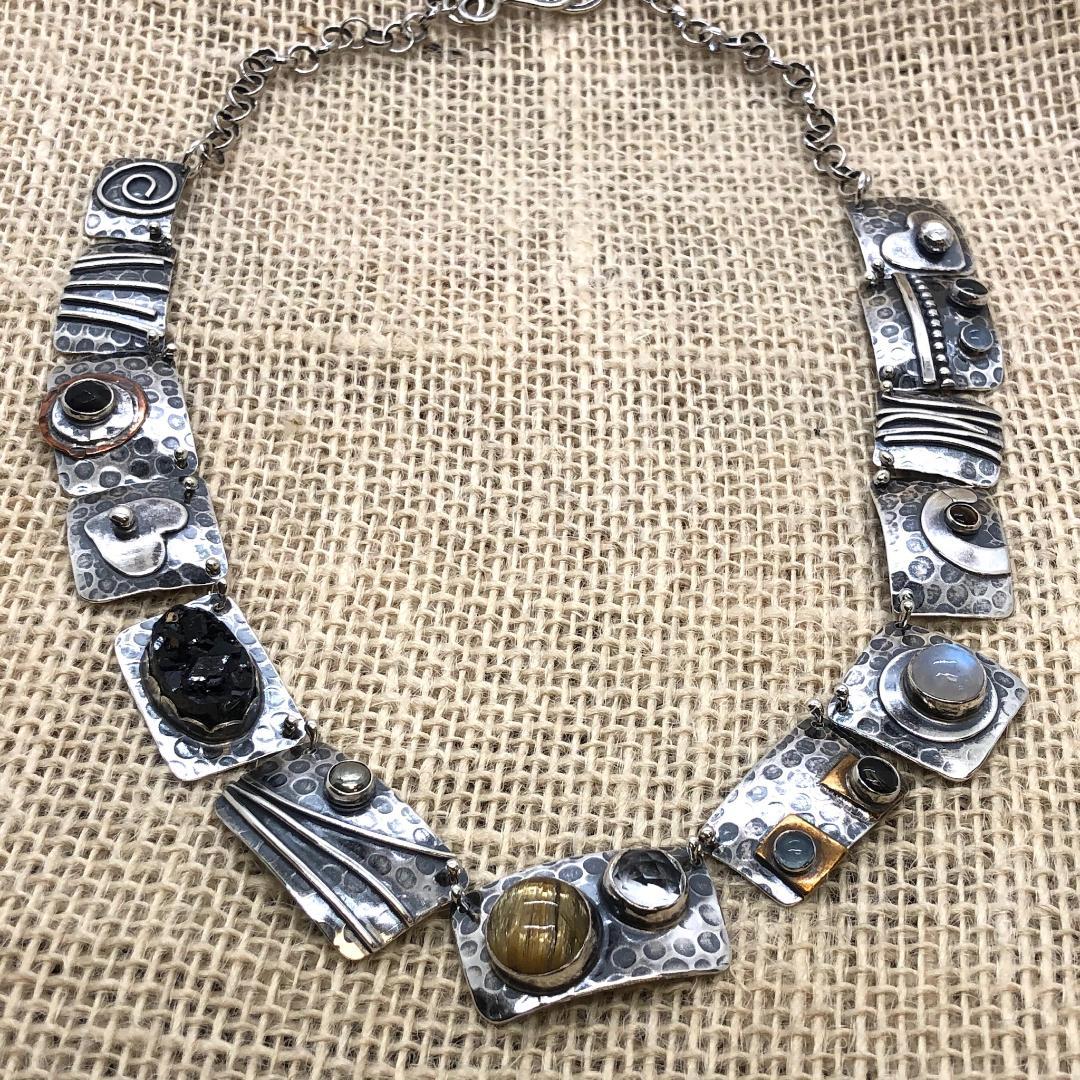 Gemstones (Moonstones, Labradorite) and Textured Silver Necklae