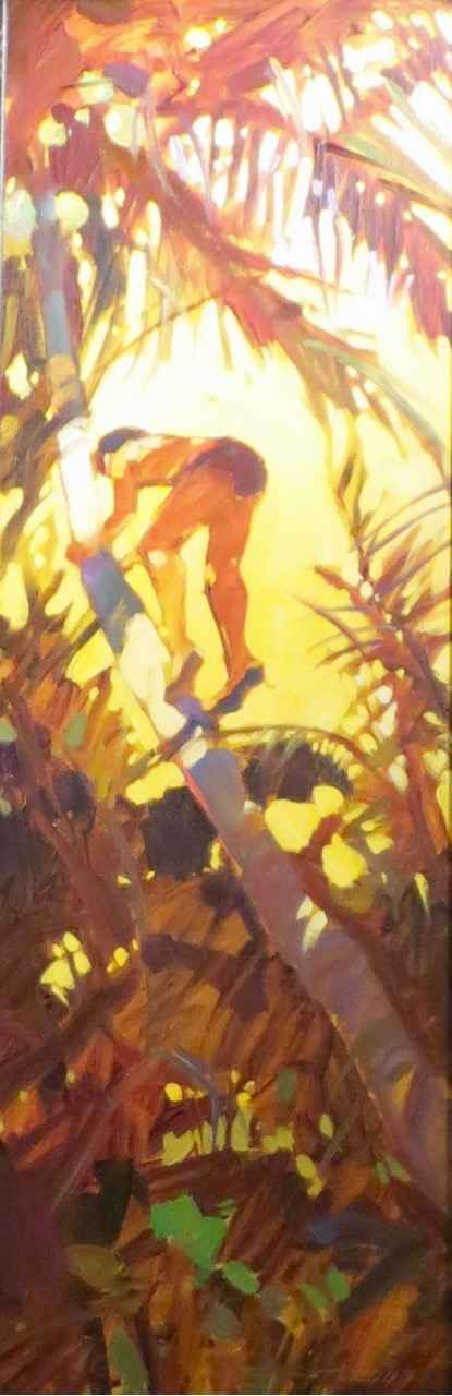 Man Climbing Palm by  Darrell Hill (1941-2013) - Masterpiece Online