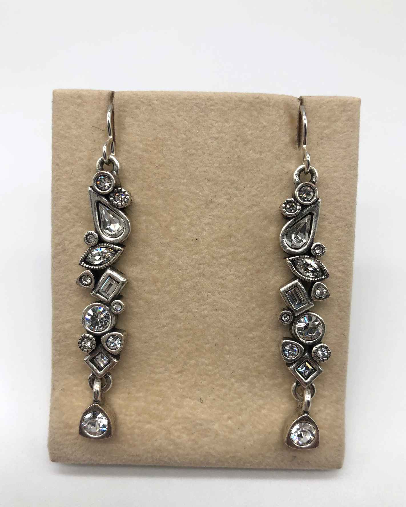 Grapevine Earrings in Silver, All Crystal