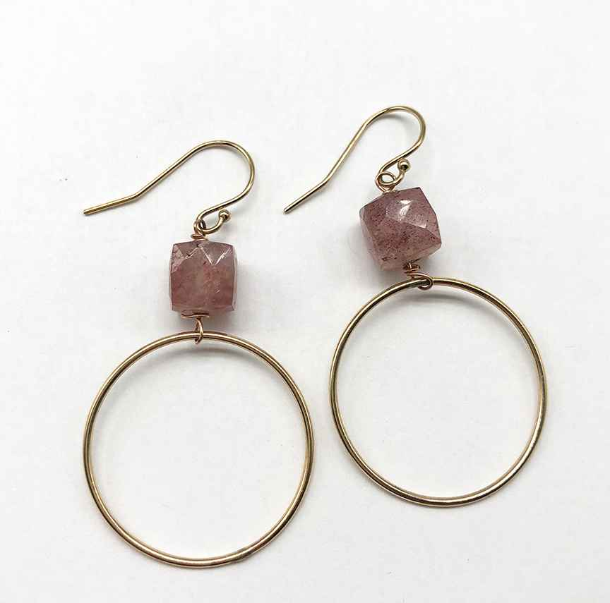 Strawberry Quartz Hoops with Faceted Cubes