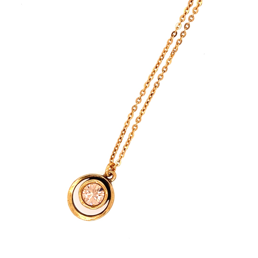 Skeeball Necklace In Gold, Light Peach