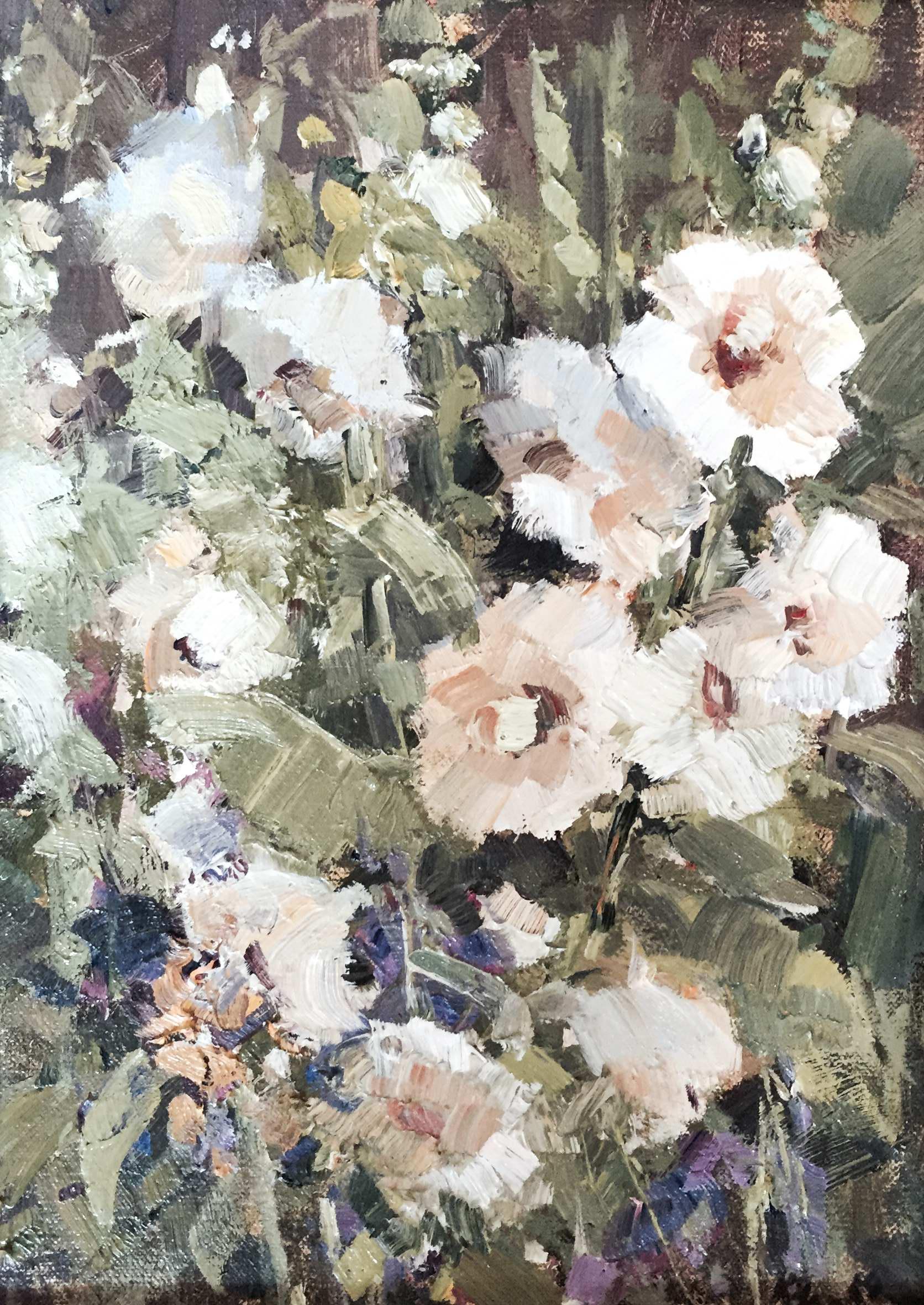White Hollyhocks by MS Kaye Franklin - Masterpiece Online