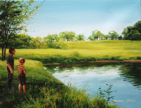 Brothers Next to pond by  Michael Wheeler - Masterpiece Online