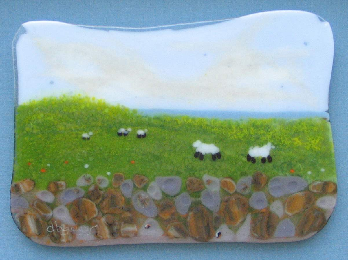 Sheep with Stone Wall by  David Geiger - Masterpiece Online