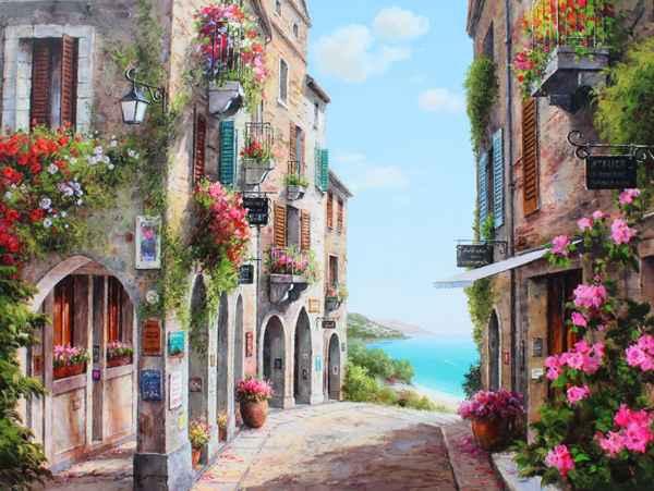 Village Shops by  Soon Ju Choi  - Masterpiece Online