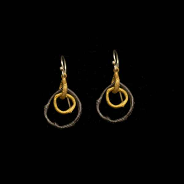 Petite Driftwood Two Link Hoop Wire Earrings