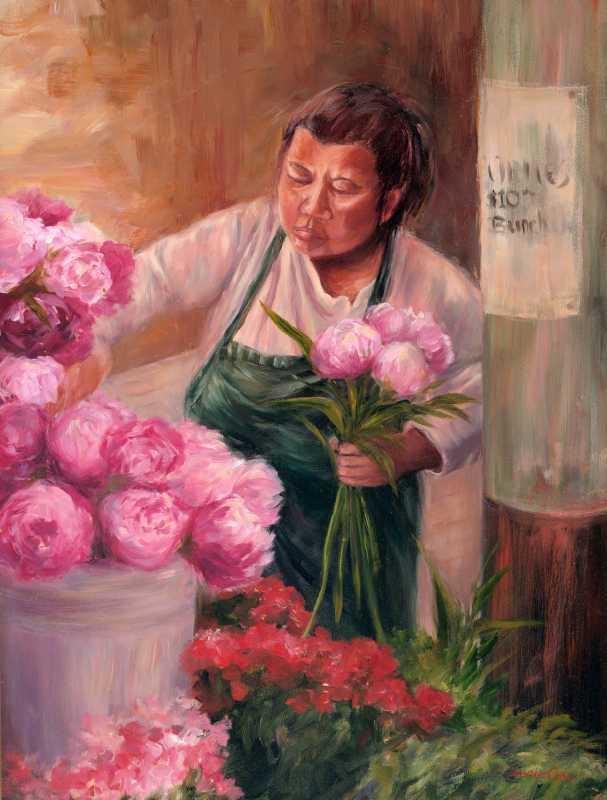 The Flower Artist  by Mrs Denise Cole - Oils