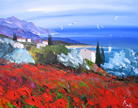 Red Poppies at the Sea  by  Louis  Magre