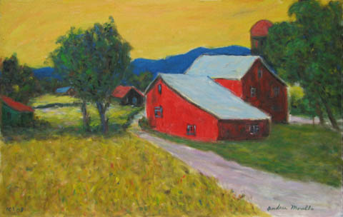 Two Red Barns by  Andres  Morillo - Masterpiece Online
