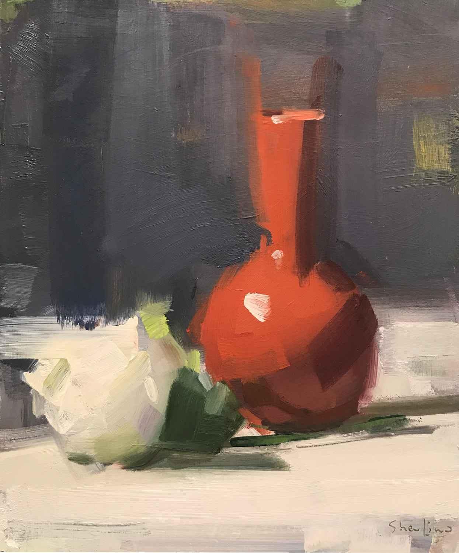 Red Vase  by  David Shevlino