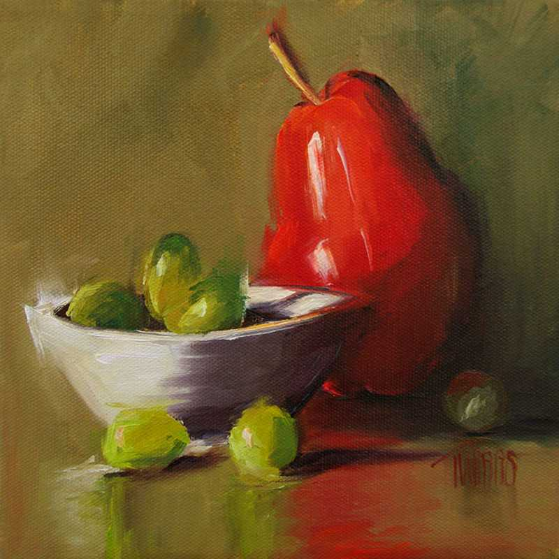 Red Pear and Grapes by  Lori Twiggs - Masterpiece Online