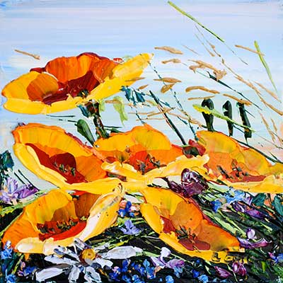 Floral Poppies Yellow... by  Maya Eventov - Masterpiece Online