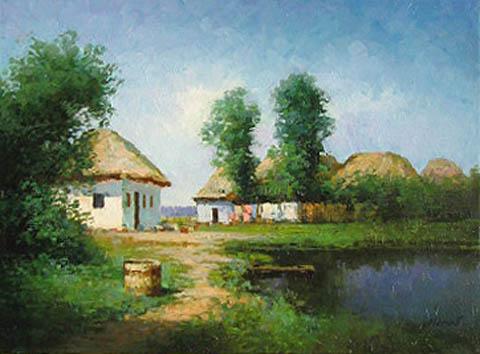 Village Pond by  Alexander Popoff  - Masterpiece Online