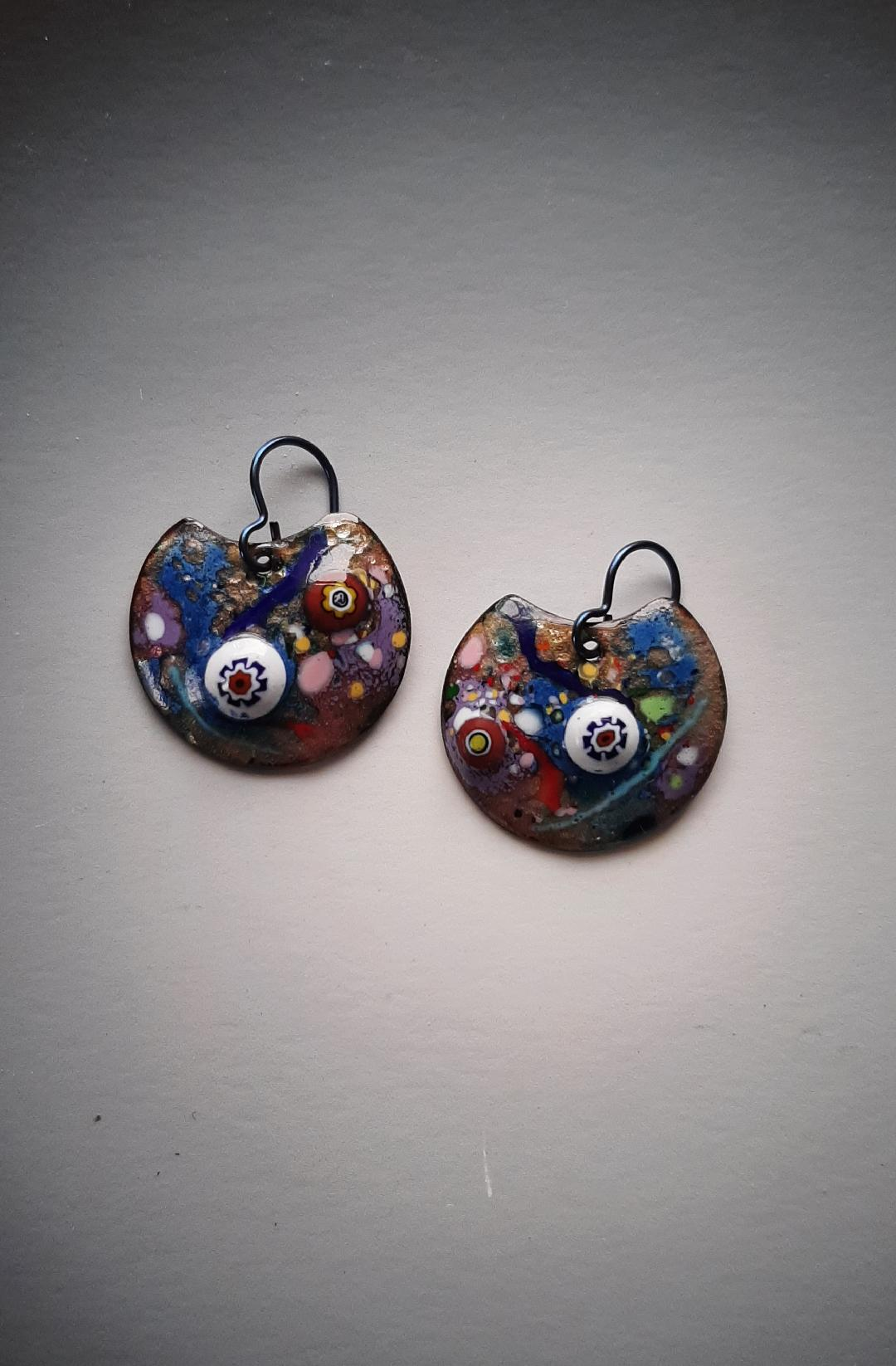 Millefiore Rounds with Blues Earrings