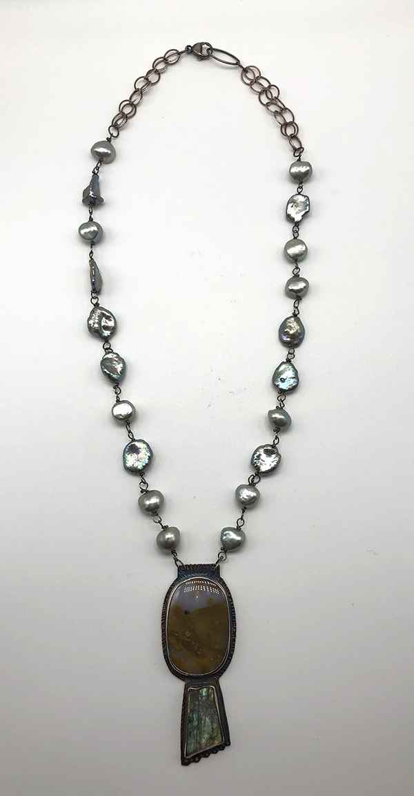 Natural Surface Labradorite, Polka Dot Agate and Sterling Necklace