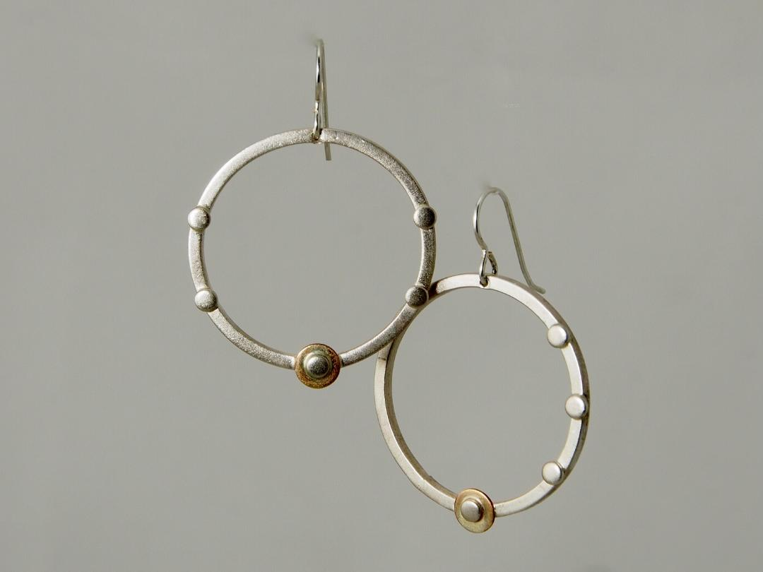 Assymetric Circle Earrings in Sterling and 14k, Gold Filled