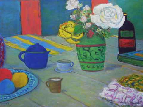 Table with Green Vase... by  Andres  Morillo - Masterpiece Online