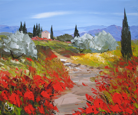 Hilltop Poppies  by  Louis  Magre